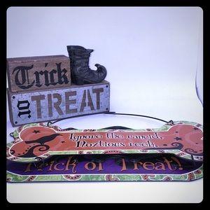 3/$20 SALE Hanging Rustic Tabletop Halloween Signs